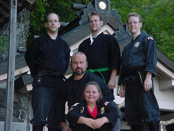 Shidoshi Miller with WCI Black Belts at Togakure Shrine in Japan