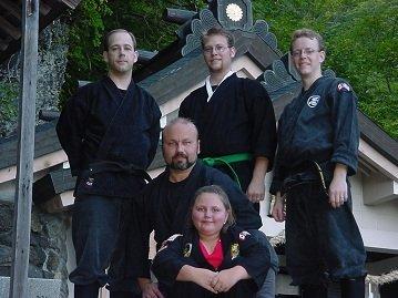 Shidoshi Miller with WCI Black Belts at Togakure Shrine in Japan